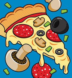 Pop Art Digital Art - Pizza On Blue by Ron Magnes