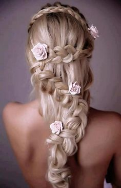 Wedding Hairstyle Idea- half down and snake braid with flower pins