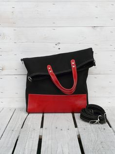 black tote bag red leather canvas foldover crossbody by SKmodell