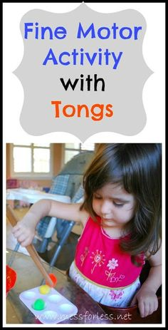 Fine Motor Skills Activity with Tongs - Kids transfer pom poms using a pair of tongs.