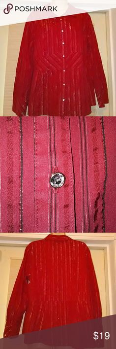 Red glittered striped shirt Red striped shirt with rhinestone buttons studio 1940 Tops Button Down Shirts