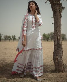 White Sharara Suit Set with Peach and Grey Embroidery Sharara Designs, Kurta Designs Women, Kurti Neck Designs, Dress Designs, Shirt Designs, Pakistani Dress Design, Pakistani Dresses, Indian Dresses, Indian Outfits