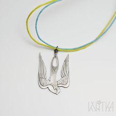 Sterling silver trident pendant stylized bird. Two by KvitkaMargo