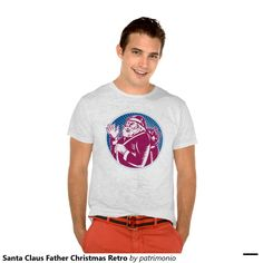Men's holiday t-shirt with a retro style illustration of American Santa Claus on isolated white background set inside blue circle. Mens Christmas T Shirts, Retro Christmas Tree, Merry Christmas, Cartoon T Shirts, Father Christmas, Cartoon Styles, Retro Fashion, Shirt Style, Shirt Designs