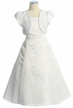 White Satin Beaded Dress w/ Bolero - possibility for Isa's First Communion/Confirmation