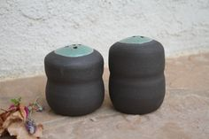 Black Clay Salt and Pepper Shaker handmade by ManuelaMarinoCeramic