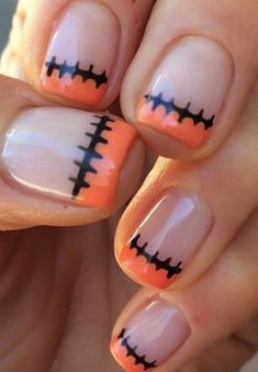 Stitched-Up French 14 Scarily Easy Halloween Nail Art Ideas The post Stitched-Up French appeared first on Halloween Nails. Nail Art Cute, Cute Nails, Pretty Nails, Cute Halloween Nails, Halloween Nail Designs, Creepy Halloween, Halloween Costumes, Halloween Decorations, Halloween Recipe