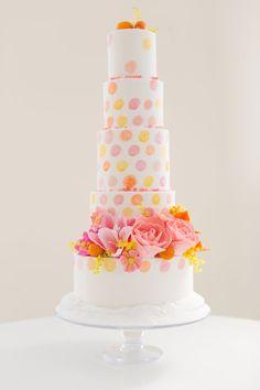 Towering colorful polka dot cake: http://www.stylemepretty.com/2015/03/24/moden-citrus-inspiration-shoot/ | Photography: Kelsey DeWitt - http://kelseydewitt.com/