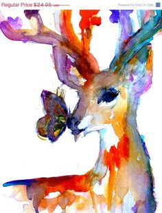 """Sweetheart Sale Print of Original Watercolor Painting, Titled: """"Butterfly Kisses"""" by Jessica Buhman Deer 8 x 10 Pink Yellow Blue Brown Black"""