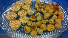 Mini shrimp quiches and sausage balls made from Jacque Brown's recipes