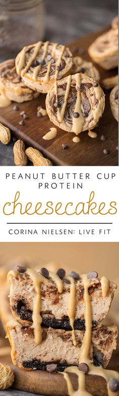 Peanut Butter Cup Swirl Protein Cheesecakes: A perfect HEALTHY sweet treat for any and all peanut butter & chocolate lovers!  They are low in sugar and fat, but high in taste and protein to help fuel your muscles!