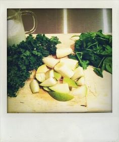 Kale Smoothie: In blender combine 1.5c Silk Coconut Milk, 1c Kale (remove the spine) and 1c spinach leaves. Blend. Add 1 banana and 1/2 a pear. Blend. Add a handful of ice cubes and a teaspoon of honey. Blend. Pour in a Mason Jar and enjoy.
