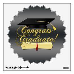 Congrats Graduate #Diploma and #Graduation hat Room Stickers by #PLdesign #GraduationGift #CongratsGraduate