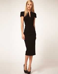Pencil dress by ASOS Collection. Featuring v-neckline with a concealed zip closure, structured short sleeves with puff shoulders, high fitted waistband with v-shape yoke, tailored pencil skirt and a kick split to reverse hemline.