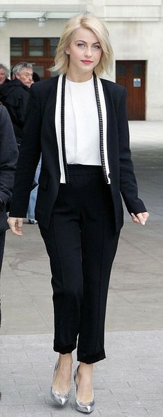 Masculine chic! #JulianneHough pulls off an androgynous trouser.. See New #Hairstyle2014
