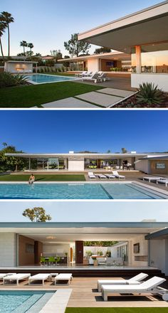 Designed for a couple and their two sons, this home in Laguna Beach, California, makes the most of the beautiful weather by having most spaces open up to the backyard and swimming pool. Modern Architecture House, Modern House Design, Architecture Design, Modern Family, Home And Family, Flat Roof House, Moderne Pools, Contemporary Garden, Indoor Outdoor Living