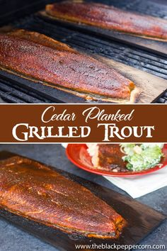 Cedar Plank Grilled Trout Recipe - rainbow or steelhead - How to grill trout on a cedar plank with a sweet and spicy rub. So easy to make and delicious with a smoky flavour infused in either steelhead or rainbow trout. Grilled Trout Recipes, Lake Trout Recipes, Rainbow Trout Recipes, Steelhead Trout Recipe Grilled, Rainbow Trout Recipe Baked, Grilled Seafood, Salmon Recipes, Grilling Recipes, Seafood Recipes
