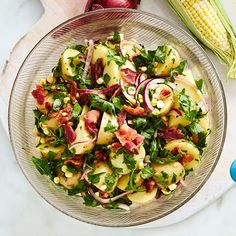 Potato Salad with Sweet Corn, Bacon, and Red Onion