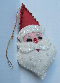 Vintage Handsewn Felt Christmas Ornaments Santa Claus Head