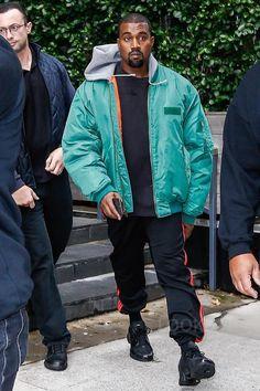 Kanye West wearing Adidas Yeezy Season 4 Calabasas Sweatpants, Adidas Clima Cool 1 Sneakers