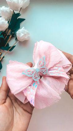 Diy Ribbon, Ribbon Crafts, Ribbon Bows, Making Hair Bows, Diy Hair Bows, Tulle Hair Bows, Handmade Hair Bows, Fabric Flower Tutorial, Fabric Flowers
