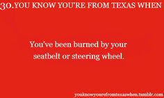 You Know You're From Texas When #30: You've been burned by your seatbelt or steering wheel.