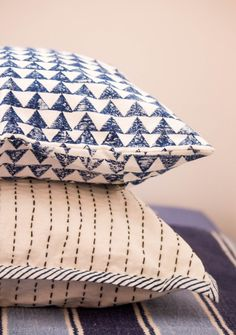 Set of two decorative throw pillows Modern kantha Modern take on traditional techniques