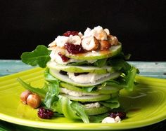 """Raw """"Goat Cheese"""" Salad with Pears, Hazelnuts, and Cherries"""