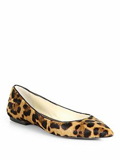 Brian Atwood Leopard Calf Hair Point-Toe Flats (I don't really want it, just pinning for looks)