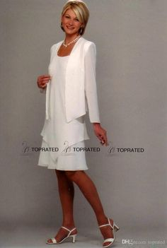 Silver Mother Of The Bride Dresses 2015 New Mother Of The Bride Groom Formal Gown Evening Dresses With Sheath Jacket Scoop Knee Length White Chiffon Long Sleeve Vintage Mother Of The Bride Dresses From Toprated, $80.72| Dhgate.Com