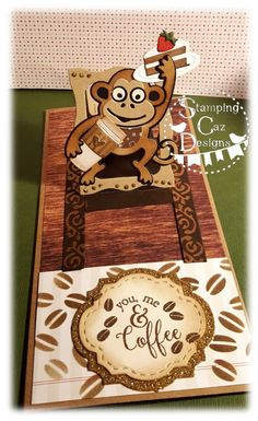Caz Counsell using the Pop it Ups Hanging Charm Pull Tab, Jinks the Monkey, Props 8 and coffee items by Karen Burniston for Elizabeth Craft Designs