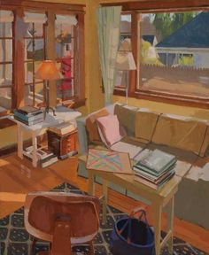 Tim Kennedy Interior with game board 34 x 28 inches Oil on Linen