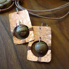 Zia Earrings - Copper & Picture Jasper on Sterling Silver Wires. $25.00, via Etsy.