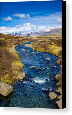Blue Iceland Canvas Print for sale. Beautiful river with crystal clear and deep blue water in the West Fjords in Iceland, Europe. Peaceful landscape full of harmony. The image gets printed on one of our premium canvases and then stretched on a wooden frame, click through and check out your options. 30 days money back guarantee. Matthias Hauser - Art for your Home Decor and Interior Design.