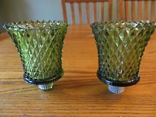 Set of 2 Green Lotus Peg Votive Candle Holders Glass Diamond Pattern