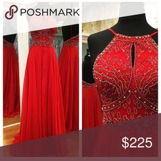 prom/pageant dress. Worn only once. Size 2. Red flowy prom/pageant dress with silver stones at the top Jovani Other