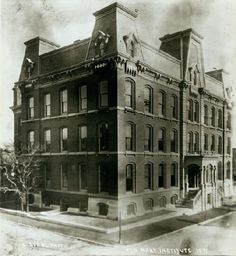 1891 - Mary Institute, Locust and Beaumont Streets, northeast corner; Now the site of a parking lot and 2 story warehouse. Historical Images, Historical Society, St Louis, Missouri, Louvre, Corner, Mary, Parking Lot, History