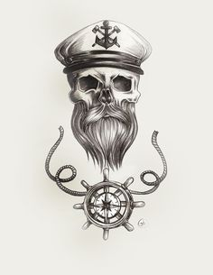 beard skull nautical tattoo pencil sketch with sailor captains hat and steering wheel with rope detail and compass. print available on fine art america http://fineartamerica.com/featured/nautical-bearded-skull-jasmine-mills.htmlhttp://fineartamerica.com/featured/nautical-bearded-skull-jasmine-mills.html?newartwork=true