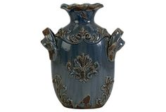 """12"""" Cadet Vase, Distressed Blue on OneKingsLane.com"""