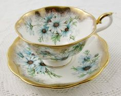 Royal Albert Tea Cup and Saucer with Blue Flowers by TheAcreage