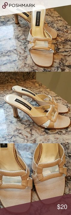 """Jennifer Moore pumps This is a pr of sand colored open toe pumps.  They have a 2 1/2 """" heel and in excellent condition with no marks tears or stains...i think they do run more like a size 7 jennifer moore Shoes Heels"""
