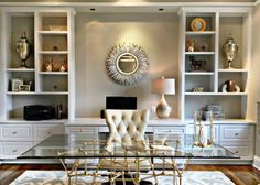 Contemporary Home Office with Built-in Bookshelves, Tufted Office Chair, and Gla. - Contemporary Home Office with Built-in Bookshelves, Tufted Office Chair, and Glass Desk - Home Office Space, Home Office Design, Home Office Furniture, Home Office Decor, Home Decor, Office Ideas, Small Office, Office Designs, Office Table