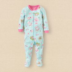 baby girl - sleep & underwear - tea party stretchie | Children's Clothing | Kids Clothes | The Children's Place