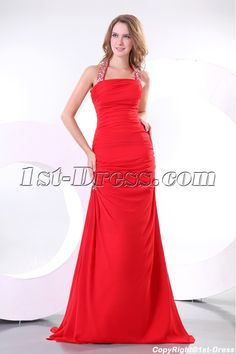1st-dress.com Offers High Quality Chic Red Halter A-line Chiffon Evening Gown 2014 with T-Back,Priced At Only US$165.00 (Free Shipping)