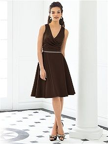 After Six #brown #bridesmaid #dress  How about this? Clean, short, would flatter almost any figure. :)