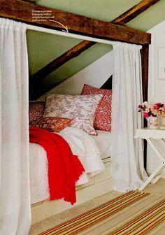 Wallpaper Amp Sloped Ceiling In Pink White Bedroom Attic
