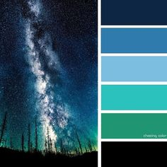 Shades Of A Forest At Nighttime (Photo Credit • 500px.com/alexiscoram) #chasingcolor #colorthemes #colorful #color #palette #colorpalette #shades #tones #hues #colorinspiration #inspiration #creative #art #photography #design #theme #nighttime #forest #galaxy #space #cosmos #nature #blue #green #sky