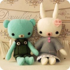 Pocket Pals - Teddy and Bunny PDF Pattern by gingermelon on etsy