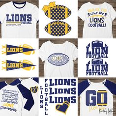 d5055b3a4 Football Mom Quotes, Lions Team, Lion Design, School Spirit Shirts, Spirit  Clothing