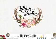 Watercolor Antler Photography Logo Design - photography logo, website logo, boutique logo,